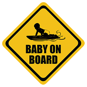 Bodyboarding baby on board sticker