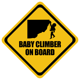 Rock Climber baby on board sticker