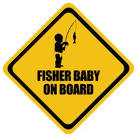 Fishing baby on board sticker