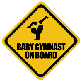 Gymnast baby on board sticker