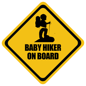 Hiking baby on board sticker