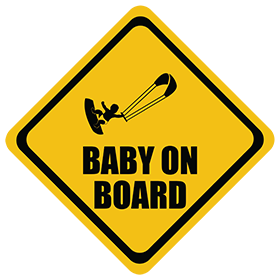 Kiteboarding baby on board sticker