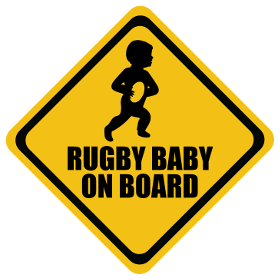 Rugby Union baby on board sticker