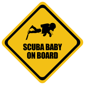 Scuba baby on board sticker