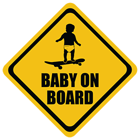 Skateboarding baby on board sticker