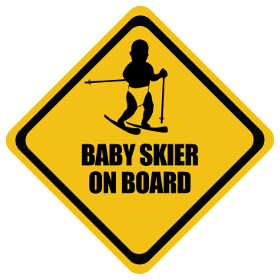 Skiing baby on board sticker