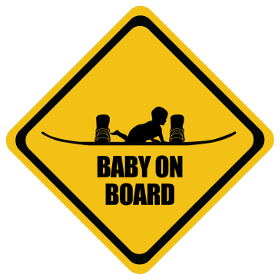 Snowboarding baby on board sticker