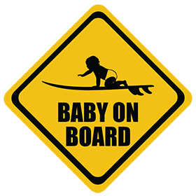 Surfing (Short Board) baby on board sticker