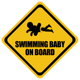 Swimming baby on board sticker
