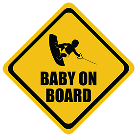 Wakeboarding baby on board sticker